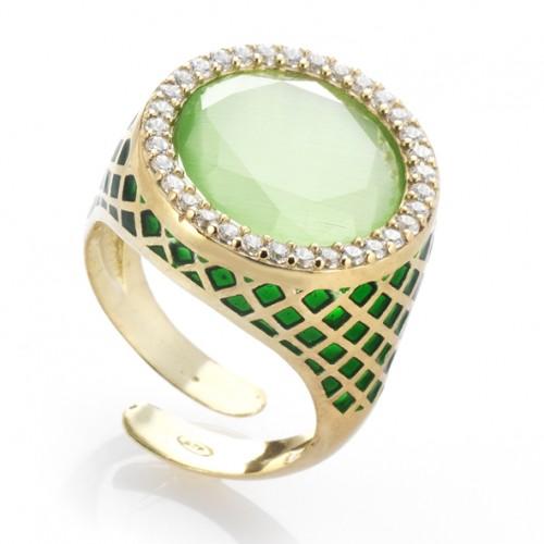 anello colors verde e swarosky